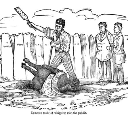 Beating a slave with a paddle